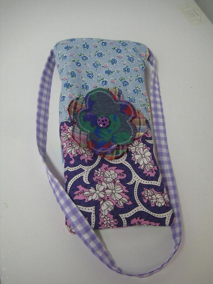 Festival Bag - Blue and Violet - Shoulder Strap - Long and Skinny - Patchwork