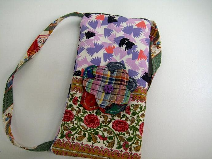 Festival Bag - Plaid and Floral - Shoulder Strap - Long and Skinny - Patchwork