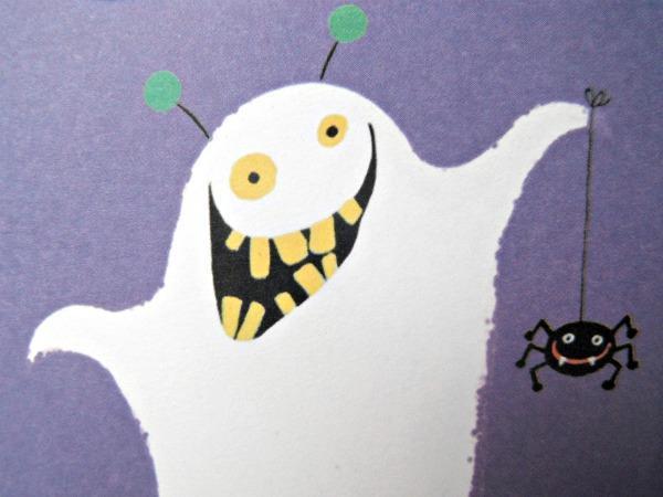 Arabic Ghost saying بو (Booooooo) Halloween Handmade Card