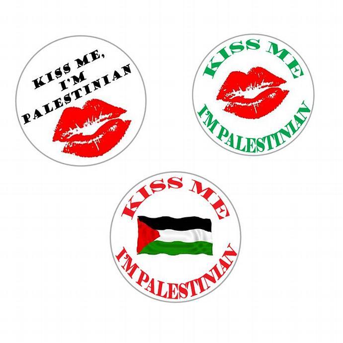Kiss Me I'm Palestinian Pinback Button Pin