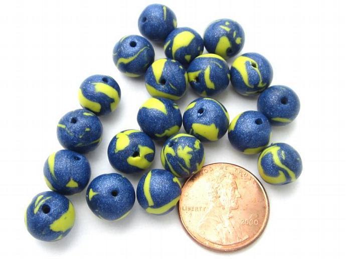 Unique Original Jewelry & Craft Supplies Blue & Yellow Handmade Beads