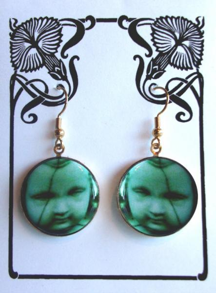 EERIE CEMETERY CHERUB with CRACKED FACE EARRINGS Halloween or Day of the Dead