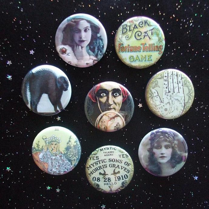 "Gypsy Fortune Tellers 1.25"" Magnets Set of 8 Ouija Board, Palm, Crystal Ball"