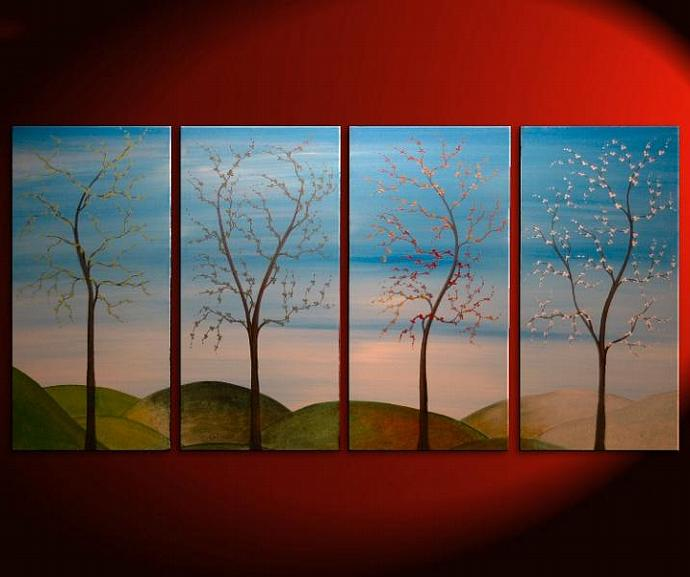 60x30 Large CUSTOM Tree Painting Four Seasons