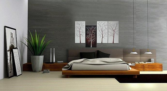60x30 Custom Chocolate Brown Cream Cherry Blossoms