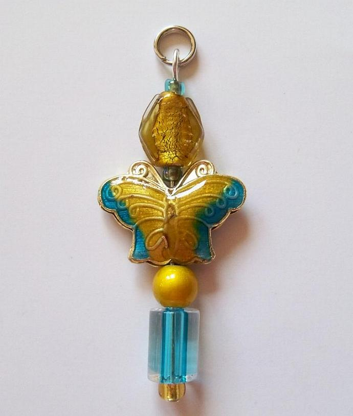 Zipper Pull Jewelry- Turquoise & Gold Butterfly