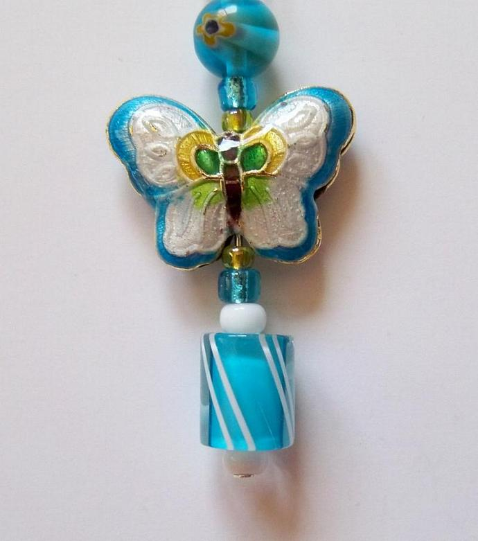 Phone Charm Jewelry- Turquoise & White Butterfly