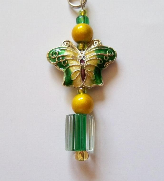 Zipper Pull Jewelry- Green & Gold Butterfly