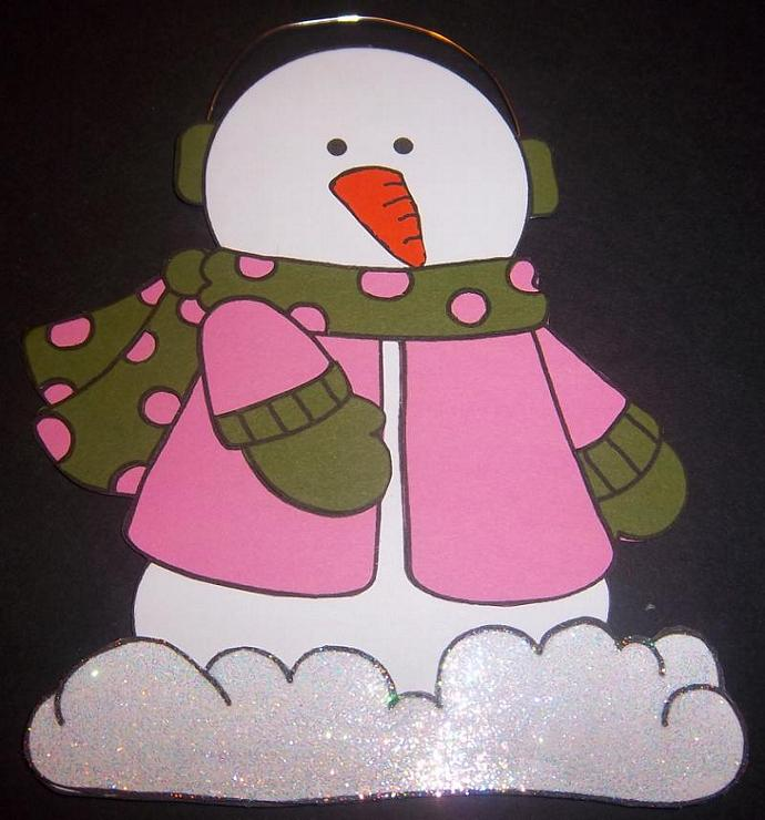 Dark Pink w/Green Snowman Scrapbook Page Element