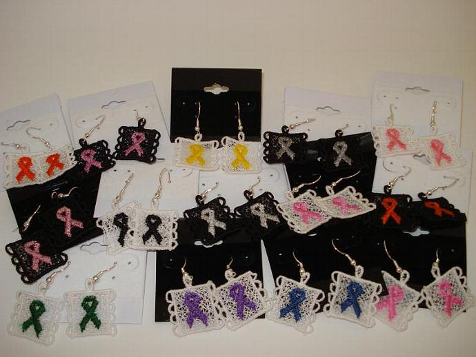 Awareness Ribbon Machine Embroidery Earrings