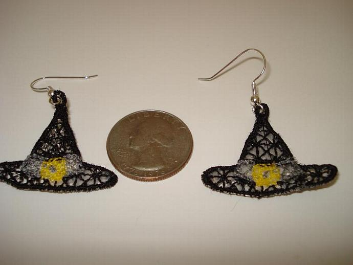 Witch Hat FSL Machine Embroidery Earrings