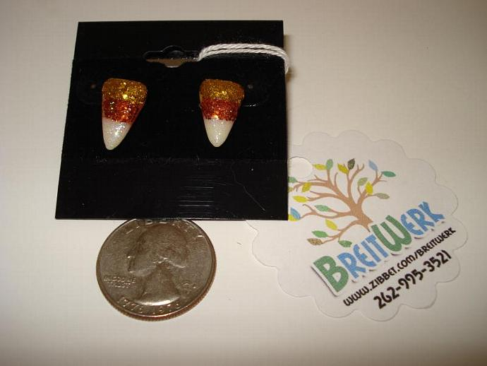 Glittered Candy Corn Earrings