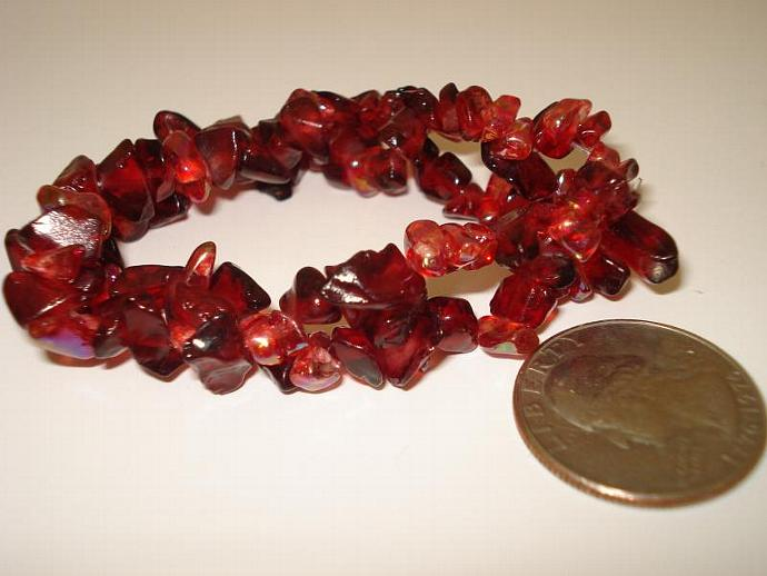 Cranberry Handmade Stretch Nugget Bead Bracelet