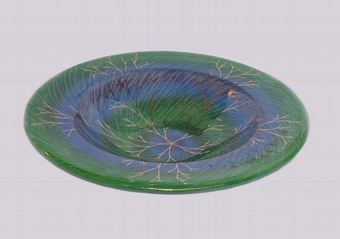 Handmade Large Art Glass Bowl, Iridescent Shades of Summer with 22k Gold