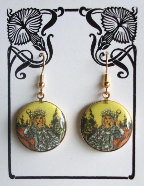 Tarot Card The Empress Altered Art Earrings