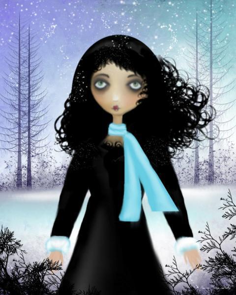 Winter Melancholy Girl Art Print - 8x10