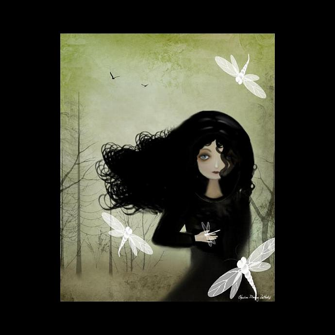 Whimsical Goth Girl and Dragonflies Art Print
