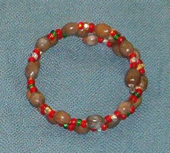 Double wrap bracelet: brown Hawaiian Jobs Tears and red, gold, clear and green