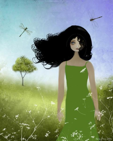 Melancholy Girl Art Print - Summer Breeze