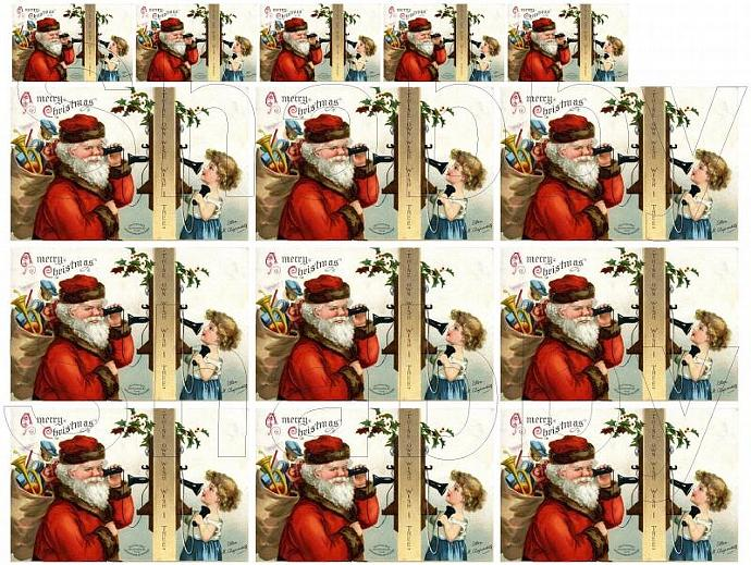 Shabby Chic  Vintage Christmas Santa phone boy  collage sheets for scrapbook and