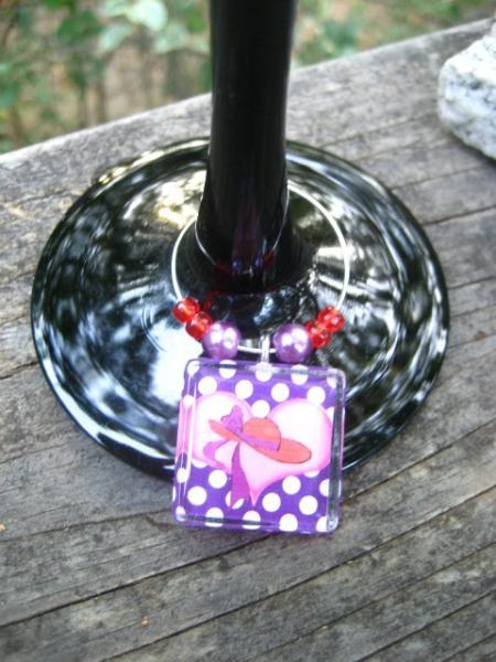 handmade Red Hat glass tile wine glass charm