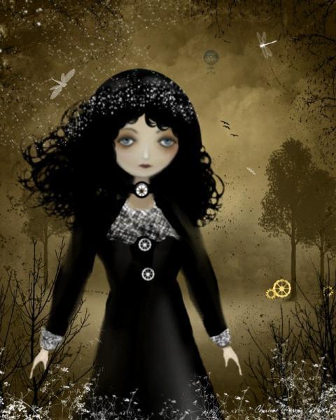 Digital Art Painting - Steampunk Art Print -- Pensive -- 8x10 -- Goth Girl Art