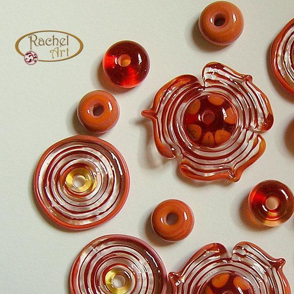 Flower Lampwork Beads, Butterflies Lampwork Red Flower Glass Beads, Handmade