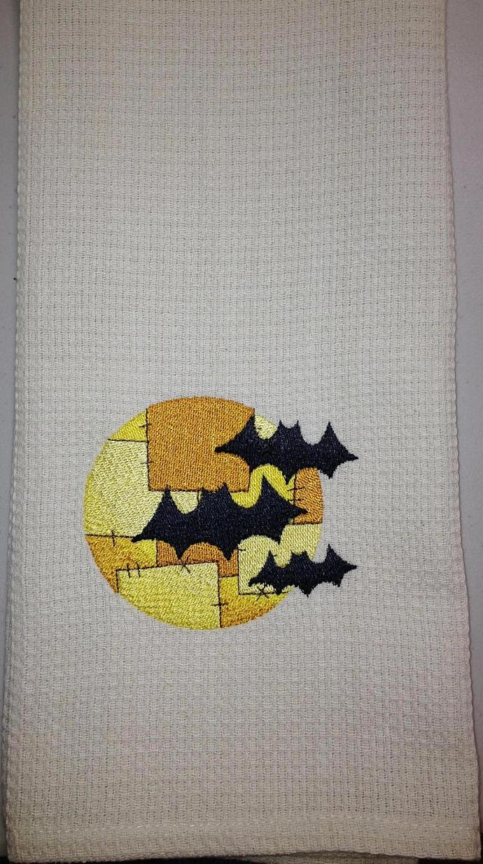 BATS and MOON PATCHWORK kitchen towel