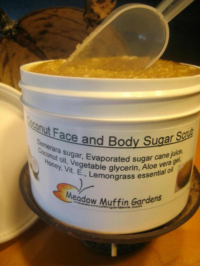 Coconut Sugar Scrub for Face & Body, Lemongrass, Exfoliation