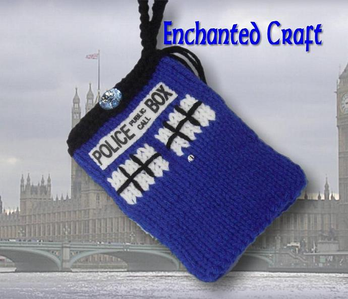 Dr. Who TARDIS cell phone, ipod, psp, or camera cozy