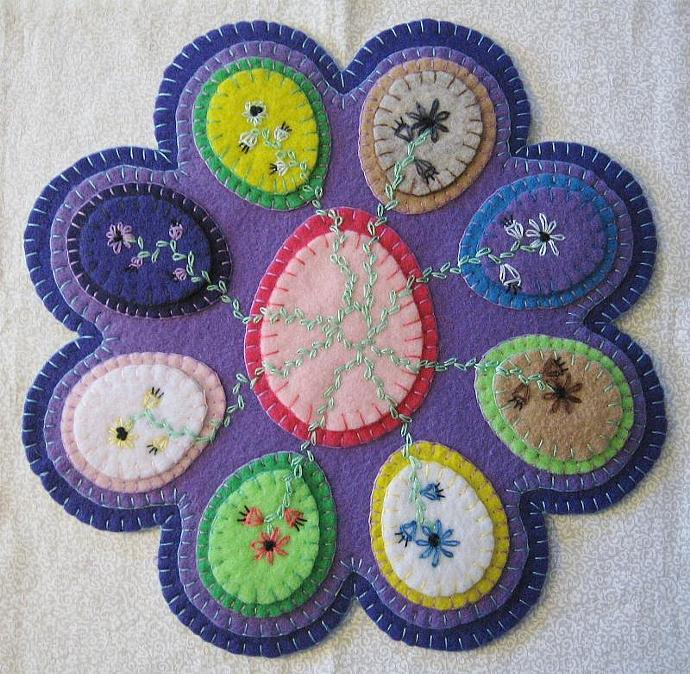 """Eggs"" Candle Mat Penny Rug With Vines And Flowers For Easter PATTERN #155"
