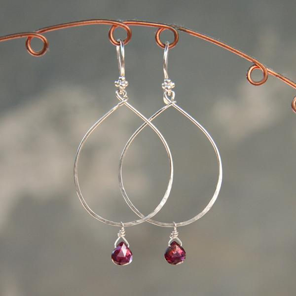 Silver Hoop and Garnet Drop Earrings