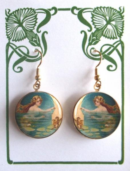 Mermaid in Water Altered Art Earrings
