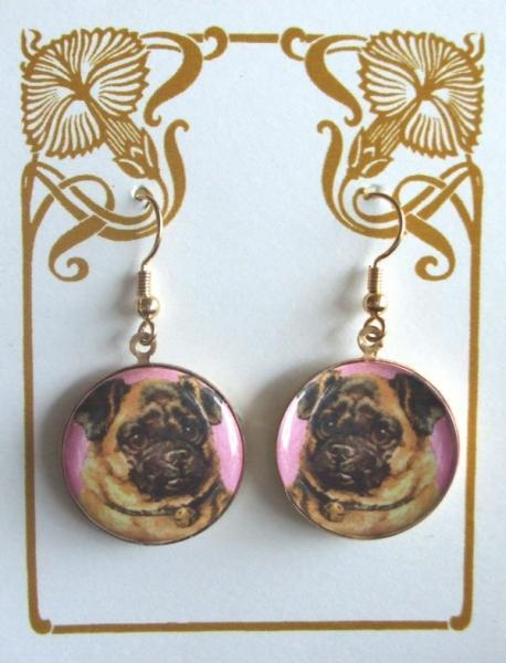 Pug with a Pink Background Altered Art Earrings