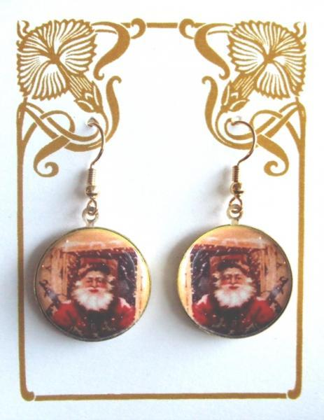 Retro Santa in Red Suit Altered Art Earrings