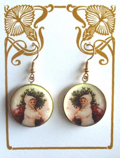 Retro Child with Tree Altered Art Christmas Earrings