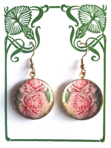 Light Pink Roses Altered Art Earrings
