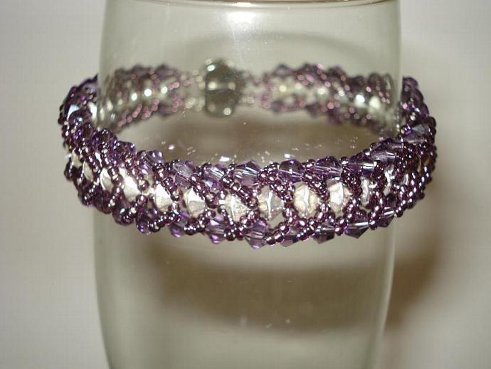 Purple Swarovski Crystal & Bead Bracelet
