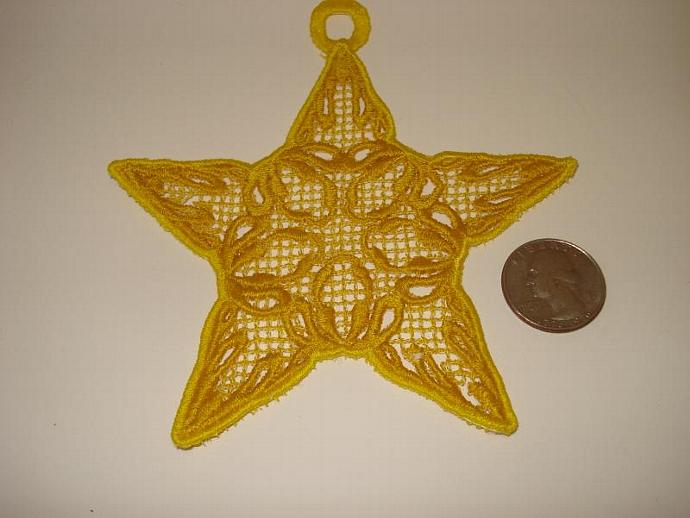 Free Standing Lace (FSL) Ornament Star Golden Yellow