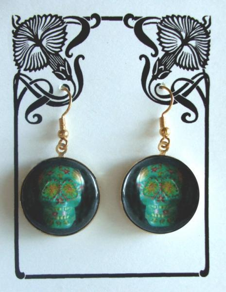 "Aqua Sugar Skulls Earrings ""Joseph"""