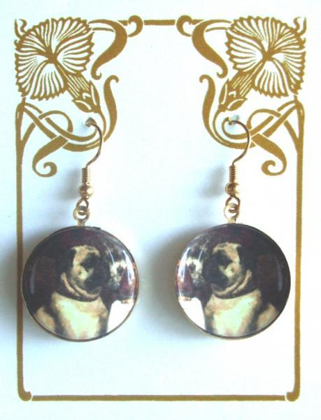 Sitting Pugs Altered Art Earrings