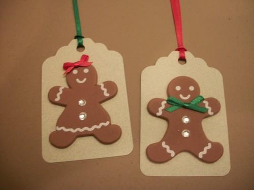 Dollar days Sale / GingerBread Boy and Girl Gift Hang Tags / 3ct