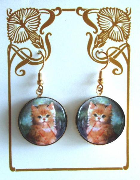 Cute Kitten with Red String Altered Art Earrings