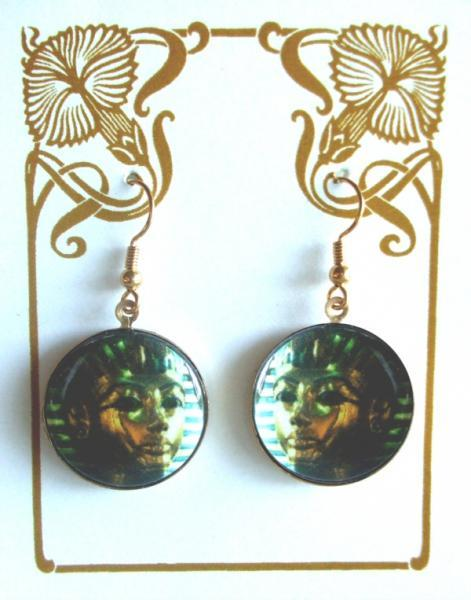 Egyptian Sarcophagus Tutankhamun Altered Art Earrings