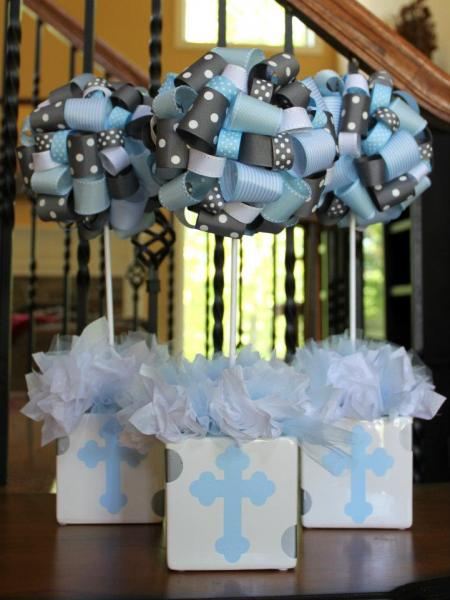 baptism christening themed ribbon topiary in by. Black Bedroom Furniture Sets. Home Design Ideas