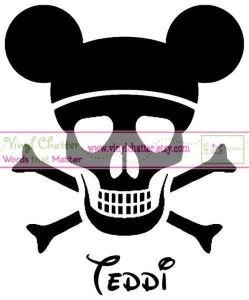 Personalized Skull and Crossbones Mickey OR Minnie Mouse DIY Iron on Decal