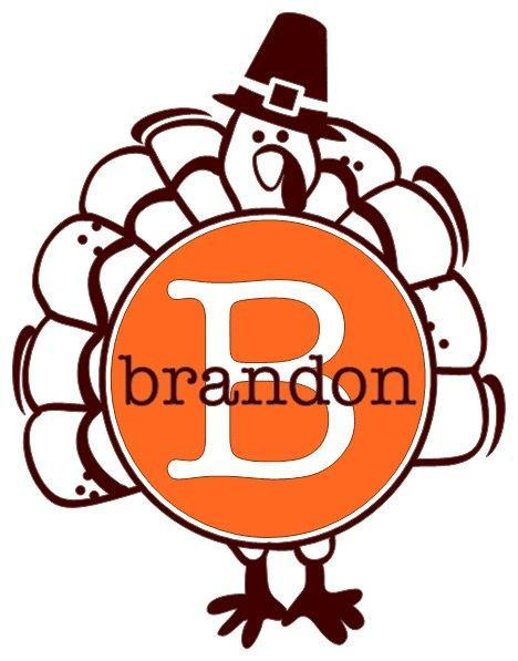 Personalized Turkey Thanksgiving DIY Iron on Decal