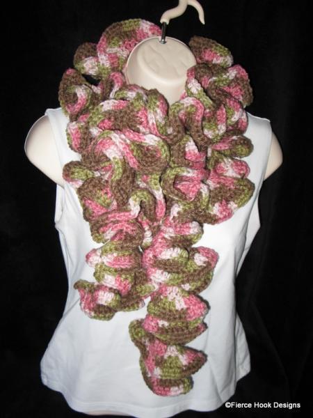 Crochet Long Curly Ruffle Scarf--LG