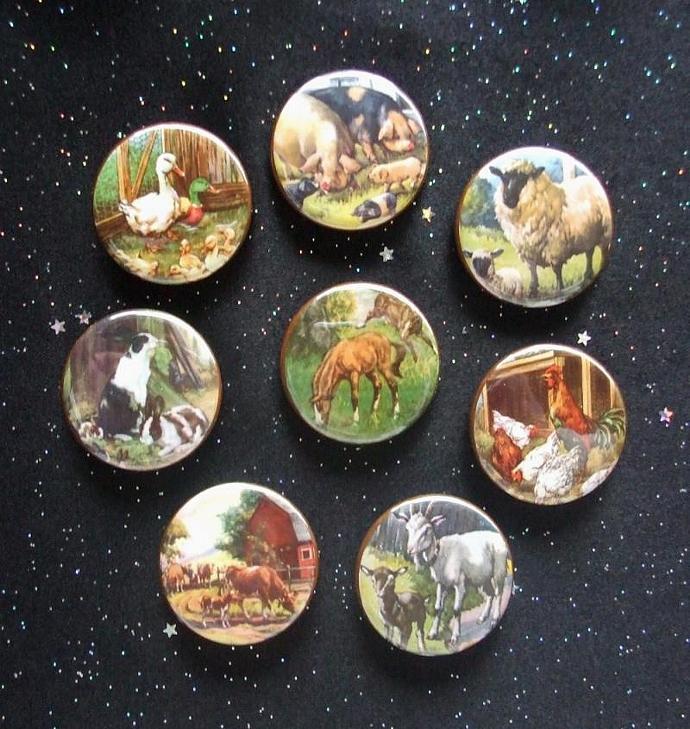 "Farm Animals 1.25"" Magnets Set of 8"