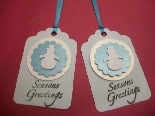 Two tone Blues and white 3D Snowman Hang Tags / 3ct